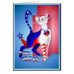 4to De la tarjeta americana del gatito de julio