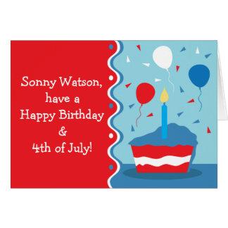 4to de la tarjeta de felicitación del cumpleaños d