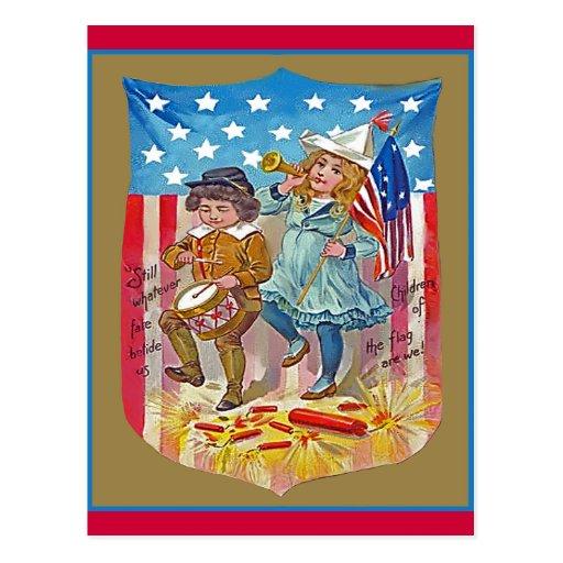 4to de los niños del vintage de julio postales