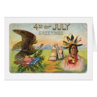 4to de los saludos de julio tarjeta pequeña