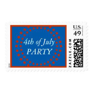 4to del azul blanco rojo festivo del fiesta de timbres postales
