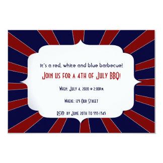 """4to del azul blanco rojo patriótico de julio invitación 3.5"""" x 5"""""""