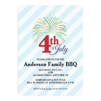 """4to del Bbq de la familia de julio, de fuegos Invitación 5"""" X 7"""""""