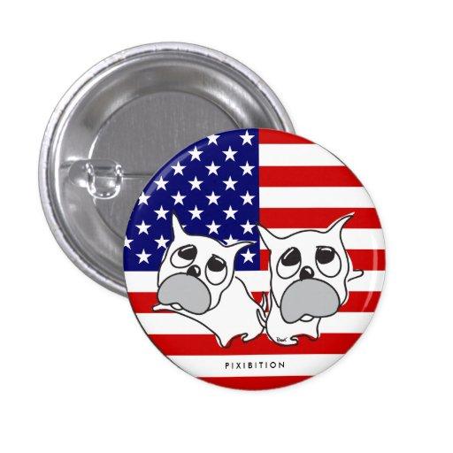 4to Del botón gemelo patriótico americano del perr Pin