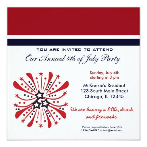 4to del fiesta del Bbq de julio Invitación 13,3 Cm X 13,3cm
