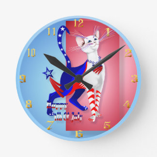 4to Del gatito americano Wallclock de julio Reloj Redondo Mediano