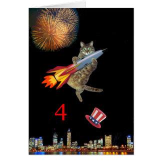 4to del gatito de julio tarjeta de felicitación