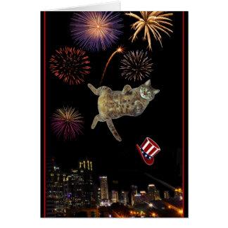 4to del gatito y de los fuegos artificiales de jul tarjeta de felicitación