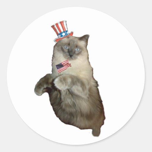 4to del gato de julio pegatina redonda