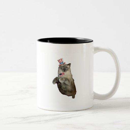 4to del gato de julio taza de café de dos colores