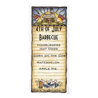 4to del menú de la barbacoa de julio tarjetas publicitarias