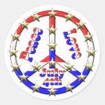 4to del signo de la paz de julio etiqueta redonda