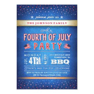 """4to el fiesta del Bbq blanco rojo del azul y del Invitación 5"""" X 7"""""""