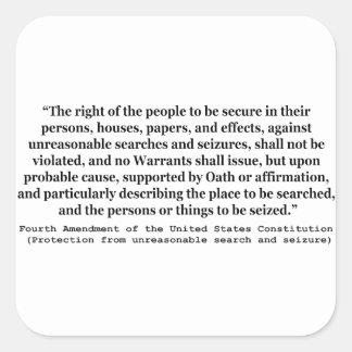 4to Enmienda de la constitución de Estados Unidos Calcomanía Cuadrada