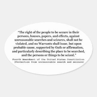 4to Enmienda de la constitución de Estados Unidos Pegatina Ovalada