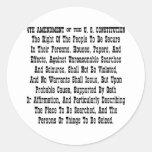 4to Enmienda de la constitución de los E.E.U.U. Pegatina Redonda
