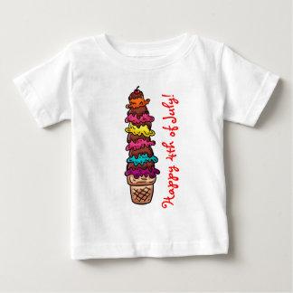 4to feliz de la camiseta del bebé de julio playeras