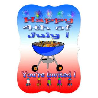 4to feliz de la invitación del Cookout de julio