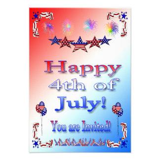 4to feliz de la invitación del fiesta de julio