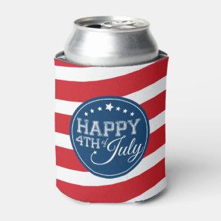 4to feliz de las barras y estrellas de julio enfriador de latas