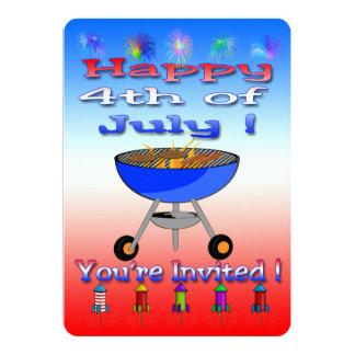 4to feliz de las invitaciones del Cookout de julio Invitación 12,7 X 17,8 Cm