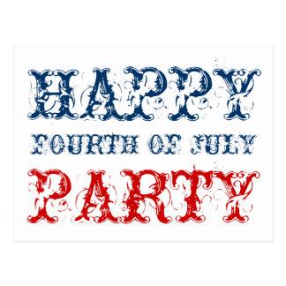 4to feliz de las tarjetas del fiesta de julio para tarjetas postales