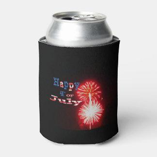 4to feliz de los fuegos artificiales de julio enfriador de latas