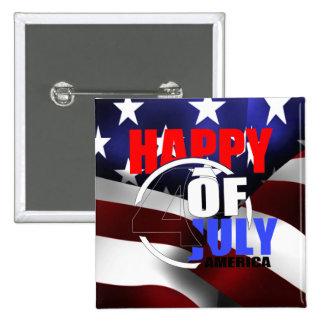 4to feliz del botón de julio América Pin Cuadrado