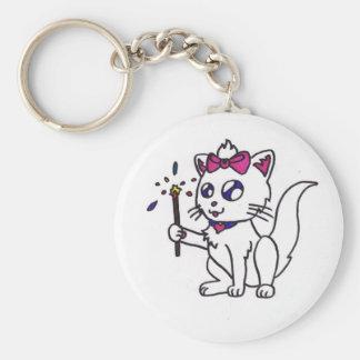 4to feliz del Día de la Independencia del gatito d Llavero Redondo Tipo Pin