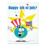 4to feliz del dibujo animado del globo de julio invitación 16,5 x 22,2 cm