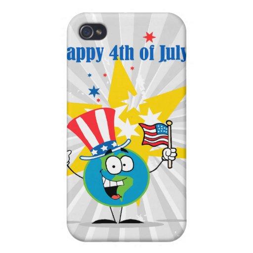 4to feliz del dibujo animado del globo de julio pa iPhone 4 protector