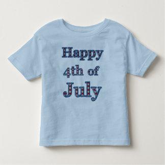 4to feliz del diseño del texto de las estrellas y camiseta