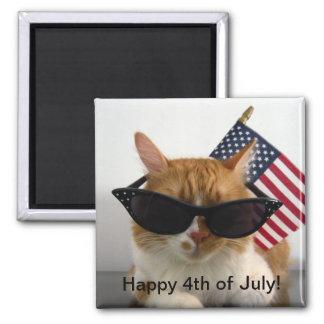 4to feliz del gato fresco de julio con el imán de