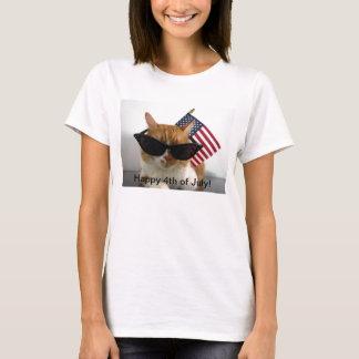 4to feliz del gato fresco de julio con la camiseta