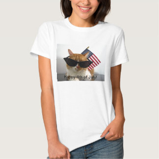 4to feliz del gato fresco de julio con la camiseta polera