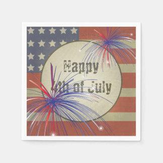 4to feliz del vintage rústico de julio el | servilleta desechable