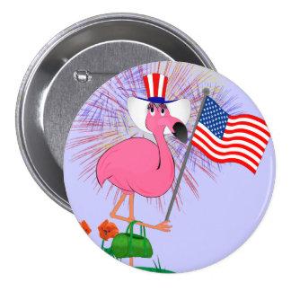 4to feliz divertido del botón de julio pin redondo de 3 pulgadas