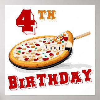 4to Fiesta de la pizza del cumpleaños Póster