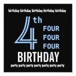 4to G205 azul de la fiesta de cumpleaños y negro Invitación 13,3 Cm X 13,3cm