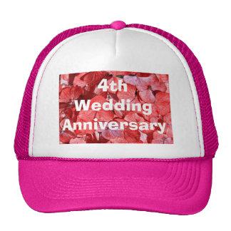 4to Hydrangea del aniversario de boda Gorros Bordados