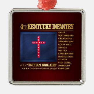 4to Infantería de Kentucky (BA2) Adorno Navideño Cuadrado De Metal