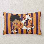 4to Jugador de básquet púrpura y anaranjado del cu Cojines