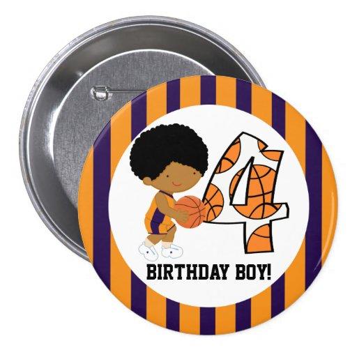 4to Jugador de básquet púrpura y anaranjado v2 del Pin