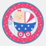 4to lindo de la fiesta de bienvenida al bebé etiquetas redondas