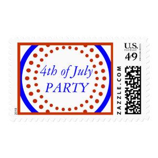 4to moderno del azul blanco rojo festivo del timbre postal