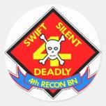4to mortal silencioso rápido etiquetas redondas