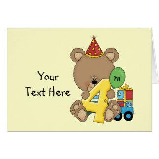 4to Muchacho del oso del cumpleaños (personalizabl Tarjeta De Felicitación