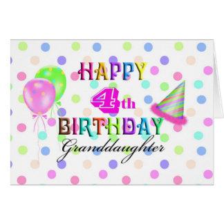4to Nieta del cumpleaños Tarjeta De Felicitación