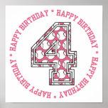 4to número feliz del béisbol del cumpleaños posters