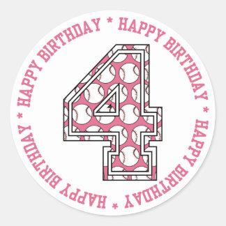 4to número feliz del béisbol del cumpleaños etiqueta redonda